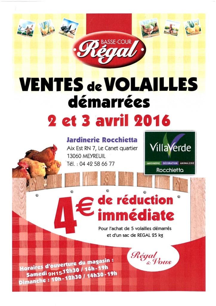 VENTE DE VOLAILLES A AIX EN PROVENCE LE 2 ET 3 AVRIL 2016
